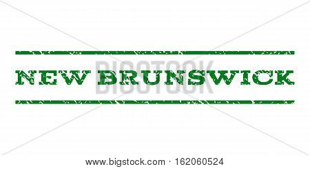 New Brunswick watermark stamp. Text tag between horizontal parallel lines with grunge design style. Rubber seal stamp with unclean texture. Vector green color ink imprint on a white background.
