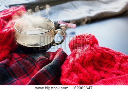 Tea Cup Hot Steam Winter Autumn Time New Year