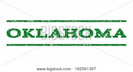Oklahoma watermark stamp. Text caption between horizontal parallel lines with grunge design style. Rubber seal stamp with scratched texture. Vector green color ink imprint on a white background.