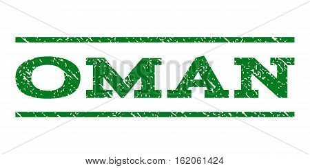 Oman watermark stamp. Text caption between horizontal parallel lines with grunge design style. Rubber seal stamp with scratched texture. Vector green color ink imprint on a white background.