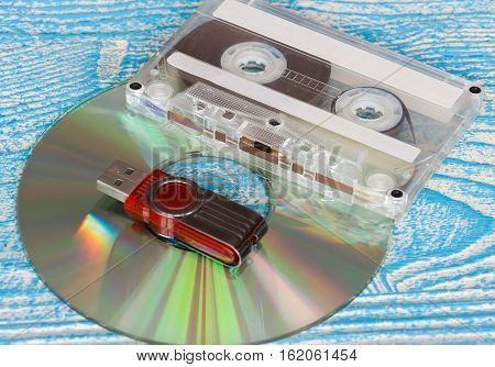 The photo shows the disk tape and flash drive