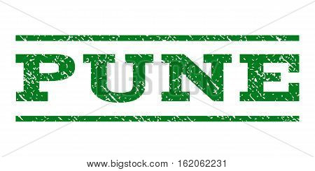 Pune watermark stamp. Text caption between horizontal parallel lines with grunge design style. Rubber seal stamp with dirty texture. Vector green color ink imprint on a white background.