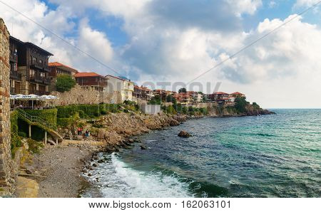 Sozopol Bulgaria - September 03 2014: Coastline in the old town Sozopol at Black Sea coast Bulgaria. Old town Sozopol was founded in the 7th century BC. Today it is one of the major seaside resorts in the country. Architectural and Historic Complex.
