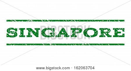 Singapore watermark stamp. Text caption between horizontal parallel lines with grunge design style. Rubber seal stamp with dust texture. Vector green color ink imprint on a white background.