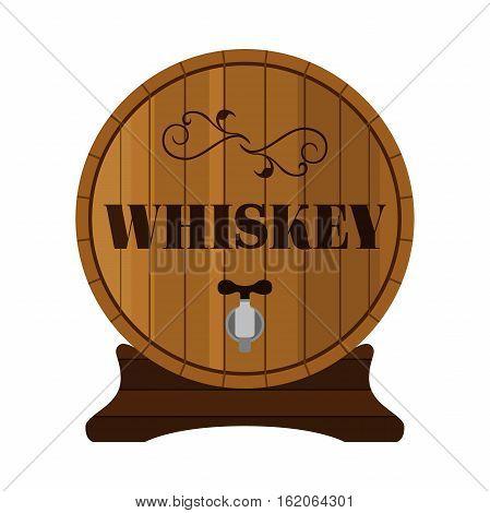 Whiskey barrel. Alcohol drink in flat style design. Vector illustration. Whiskey brandy liquor for pubs restaurants hipster bars