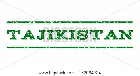 Tajikistan watermark stamp. Text caption between horizontal parallel lines with grunge design style. Rubber seal stamp with dirty texture. Vector green color ink imprint on a white background.