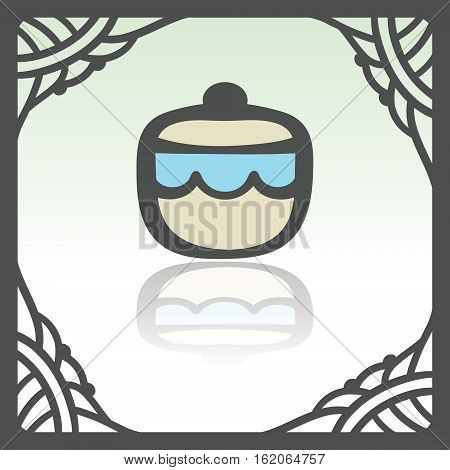 Vector outline sugar or jam bowl icon in hand drawn frame. Elements for mobile concepts and web apps. Modern infographic logo and pictogram.