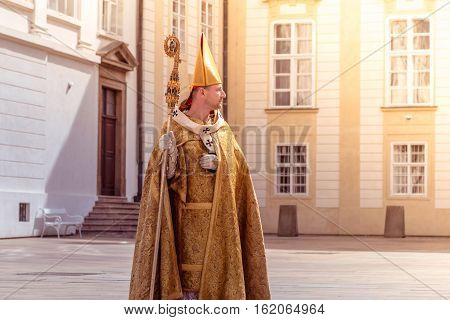 PRAGUE CZECH REPUBLIC - SEPTEMBER 04 2016: Re-enactment of the Coronation of Charles IV in Prague Castle.