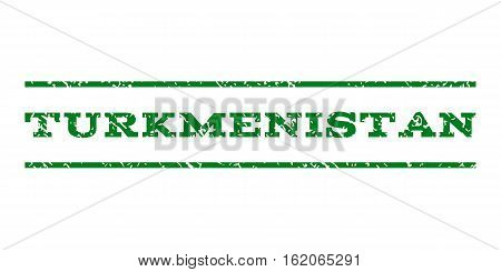 Turkmenistan watermark stamp. Text caption between horizontal parallel lines with grunge design style. Rubber seal stamp with dirty texture. Vector green color ink imprint on a white background.
