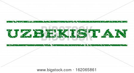 Uzbekistan watermark stamp. Text tag between horizontal parallel lines with grunge design style. Rubber seal stamp with dirty texture. Vector green color ink imprint on a white background.