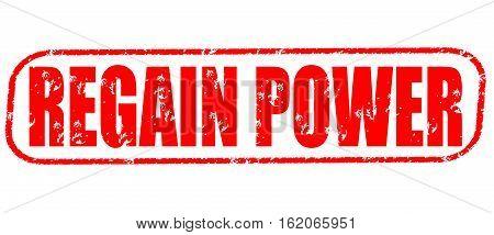 Regain power on the white background, red illustration