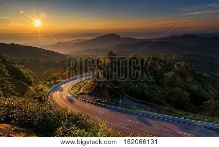 Doi Inthanon National park sunrise at Chiang Mai Thailand