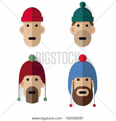 Heads Icons Men With Wool Hats