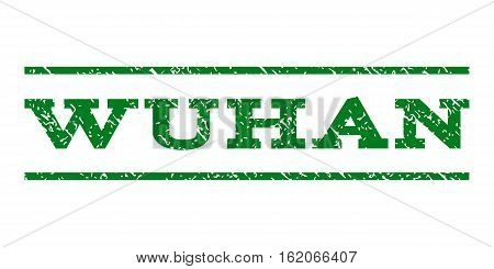Wuhan watermark stamp. Text tag between horizontal parallel lines with grunge design style. Rubber seal stamp with unclean texture. Vector green color ink imprint on a white background. poster