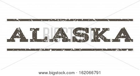 Alaska watermark stamp. Text caption between horizontal parallel lines with grunge design style. Rubber seal stamp with dirty texture. Vector grey color ink imprint on a white background.