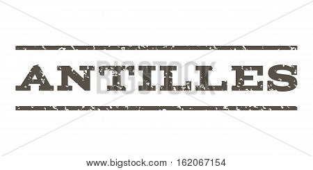 Antilles watermark stamp. Text tag between horizontal parallel lines with grunge design style. Rubber seal stamp with scratched texture. Vector grey color ink imprint on a white background.