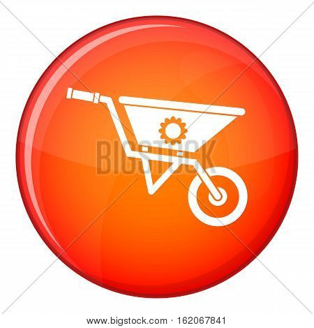 Wheelbarrow icon in red circle isolated on white background vector illustration