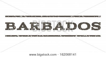 Barbados watermark stamp. Text caption between horizontal parallel lines with grunge design style. Rubber seal stamp with dust texture. Vector grey color ink imprint on a white background.