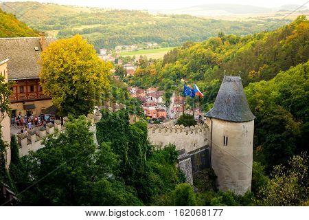 KARLSTEJN CZECH REPUBLIC - SEPTEMBER 03 2016: Side tower of Karlstejn Castle.
