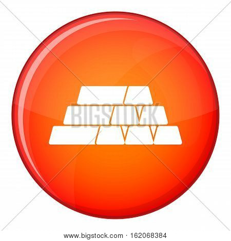 Gold bar icon in red circle isolated on white background vector illustration