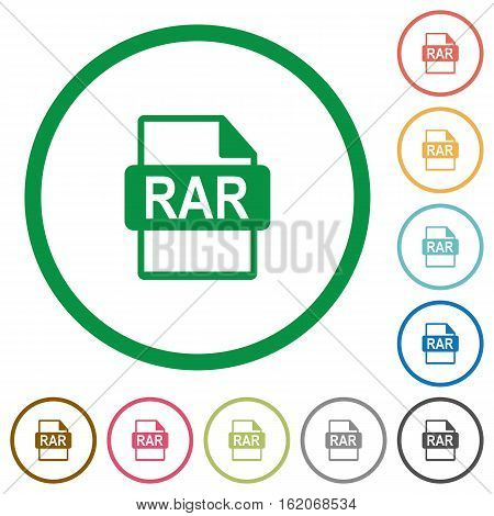 RAR file format flat color icons in round outlines on white background