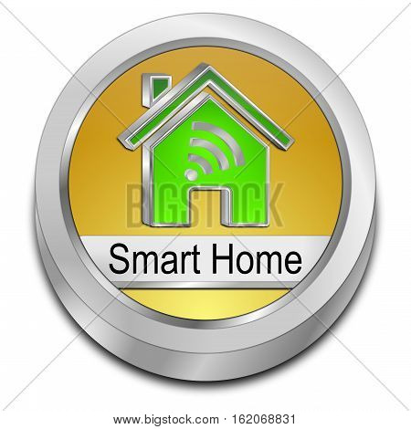golden green Smart Home Button - 3D illustration