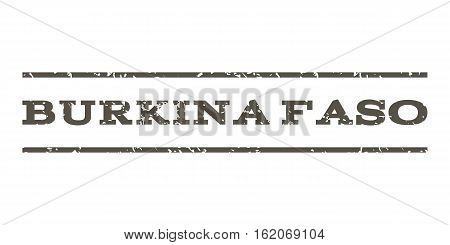 Burkina Faso watermark stamp. Text caption between horizontal parallel lines with grunge design style. Rubber seal stamp with unclean texture. Vector grey color ink imprint on a white background.