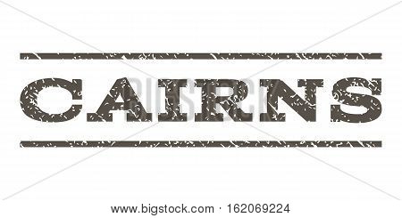 Cairns watermark stamp. Text tag between horizontal parallel lines with grunge design style. Rubber seal stamp with dust texture. Vector grey color ink imprint on a white background.