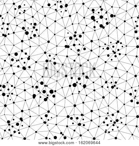 Vector monochrome seamless pattern. Repeat abstract background with thin lines, chaotic dots. Digital dynamical surface, net illustration. Black & white endless texture. Design for prints, decoration, textile, digital, web