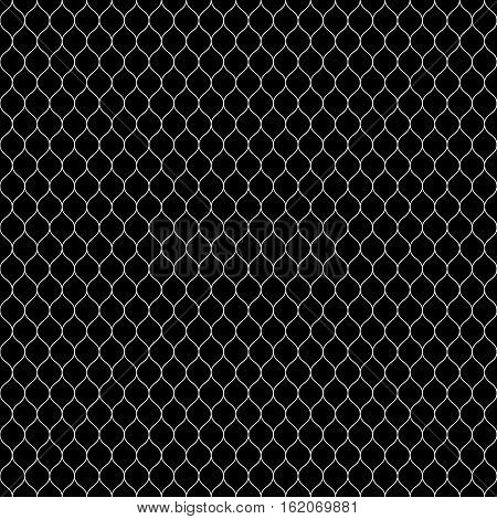 Vector seamless pattern, white thin wavy lines on black backdrop. Illustration of mesh, fishnet, lace. Subtle monochrome background, simple repeat texture. Design for prints, decoration, cover, textile, furniture, digital