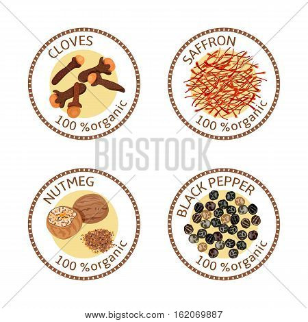 Set of herbs labels. 100 organic. Spice collection. Vector illustration. Cloves, black pepper, nutmeg, saffron Brown stamps. Round emblem for cosmetics, restaurant, health care store, logo price tag