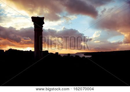 Silhouette of an ancient Kourion. Limassol District Cyprus.