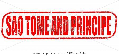Sao Tome and Principe on the white background, red illustration