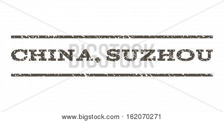 China, Suzhou watermark stamp. Text tag between horizontal parallel lines with grunge design style. Rubber seal stamp with dust texture. Vector grey color ink imprint on a white background.