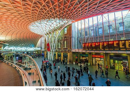 LONDON UNITED KINGDOM - OCTOBER 31: This is the interior architecture of Kings Cross St pancras station where you can find shops and information on departures on October 31 2016 in London