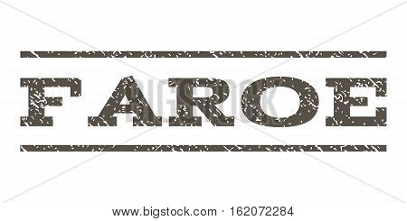Faroe watermark stamp. Text tag between horizontal parallel lines with grunge design style. Rubber seal stamp with dirty texture. Vector grey color ink imprint on a white background.