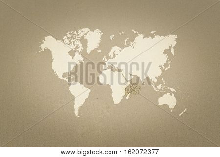 Sand Texture Surface With World Map