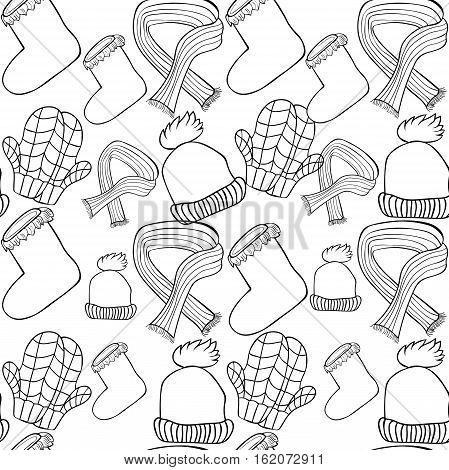 Seamless Pattern Coloring Hat, Mittens, Boots, Scarf Winter. Vector Illustration