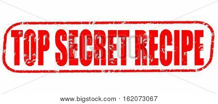 Top secret recipe on the white background, red illustration