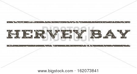 Hervey Bay watermark stamp. Text tag between horizontal parallel lines with grunge design style. Rubber seal stamp with dirty texture. Vector grey color ink imprint on a white background.