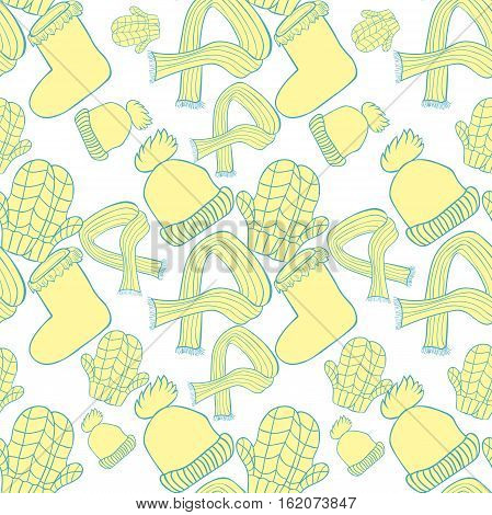 Seamless Pattern  Hat, Mittens, Boots, Scarf Winter. Vector Illustration