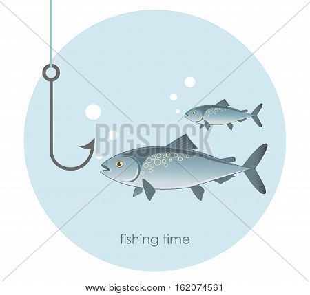 Fishing. Image of fish and a fishing hook. Fishing Time. Vector illustration.