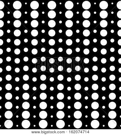 Vector monochrome seamless pattern, different sized circles & dots, black & white vertical rows. Modern simple perforated background. Trendy repeat geometric texture for your designs, prints, decoration, digital, web