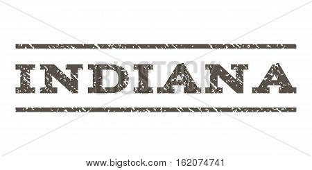 Indiana watermark stamp. Text tag between horizontal parallel lines with grunge design style. Rubber seal stamp with unclean texture. Vector grey color ink imprint on a white background.