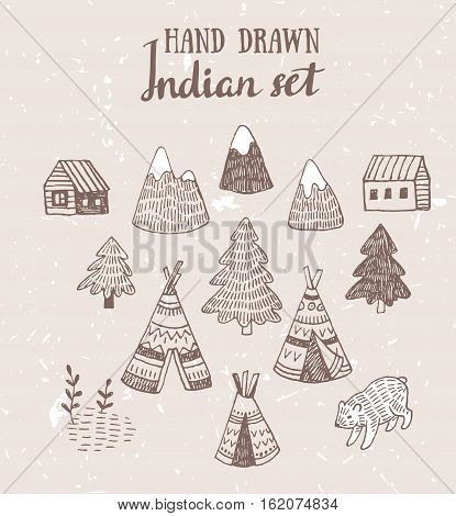 Set of North American Indian tipi homes with hand drawn tribal ornament, ink elements of forest and mountains, bear and field. Vector hand drawn design elements.