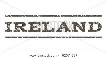 Ireland watermark stamp. Text caption between horizontal parallel lines with grunge design style. Rubber seal stamp with dirty texture. Vector grey color ink imprint on a white background.