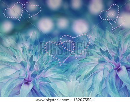 dahlias flowers. blurred turquiose-blue background. Bright floral composition. card for the holiday. Loving heart. Nature.