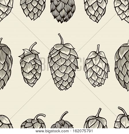 Seamless pattern with hops. Beer background. Vector illustration