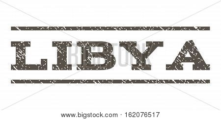 Libya watermark stamp. Text tag between horizontal parallel lines with grunge design style. Rubber seal stamp with unclean texture. Vector grey color ink imprint on a white background.