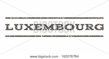 Luxembourg watermark stamp. Text tag between horizontal parallel lines with grunge design style. Rubber seal stamp with dust texture. Vector grey color ink imprint on a white background.